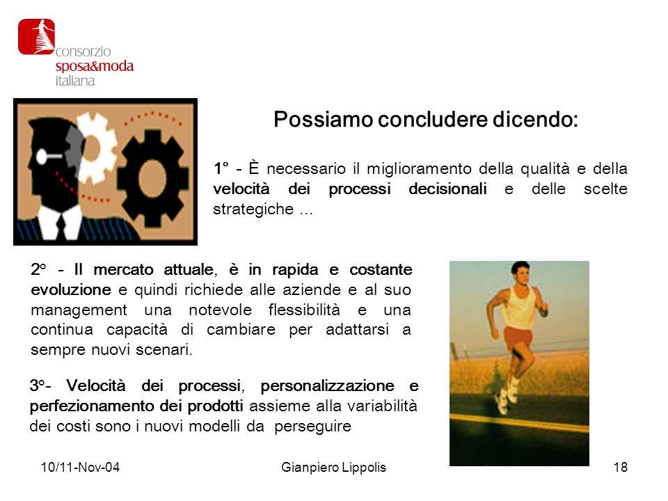 10/11-Nov-04Gianpiero Lippolis18 1° - È necessario il miglioramento della qualità e della velocità dei processi decisionali e delle scelte strategiche