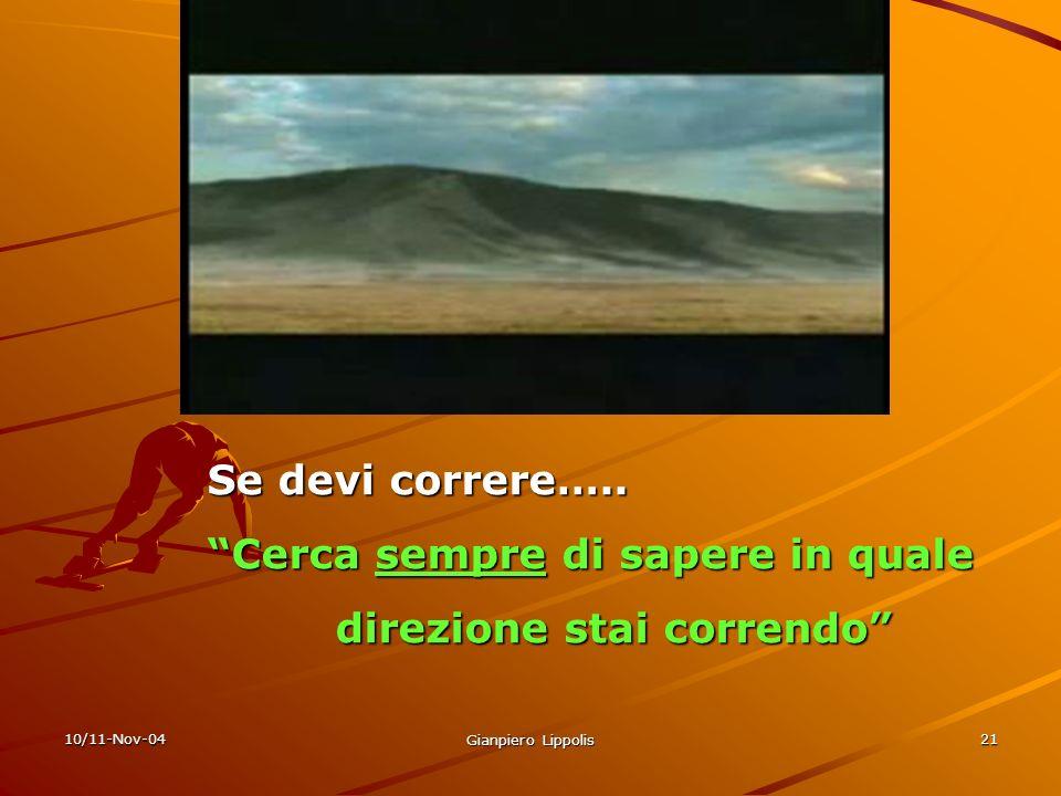 10/11-Nov-04 Gianpiero Lippolis 21 Se devi correre….. Cerca sempre di sapere in quale direzione stai correndo