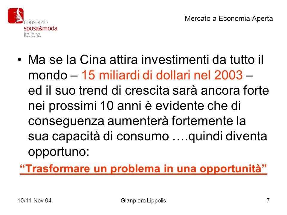 10/11-Nov-04Gianpiero Lippolis7 Ma se la Cina attira investimenti da tutto il mondo – 15 miliardi di dollari nel 2003 – ed il suo trend di crescita sa