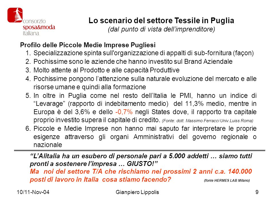 10/11-Nov-04Gianpiero Lippolis9 Profilo delle Piccole Medie Imprese Pugliesi 1.Specializzazione spinta sull'organizzazione di appalti di sub-fornitura