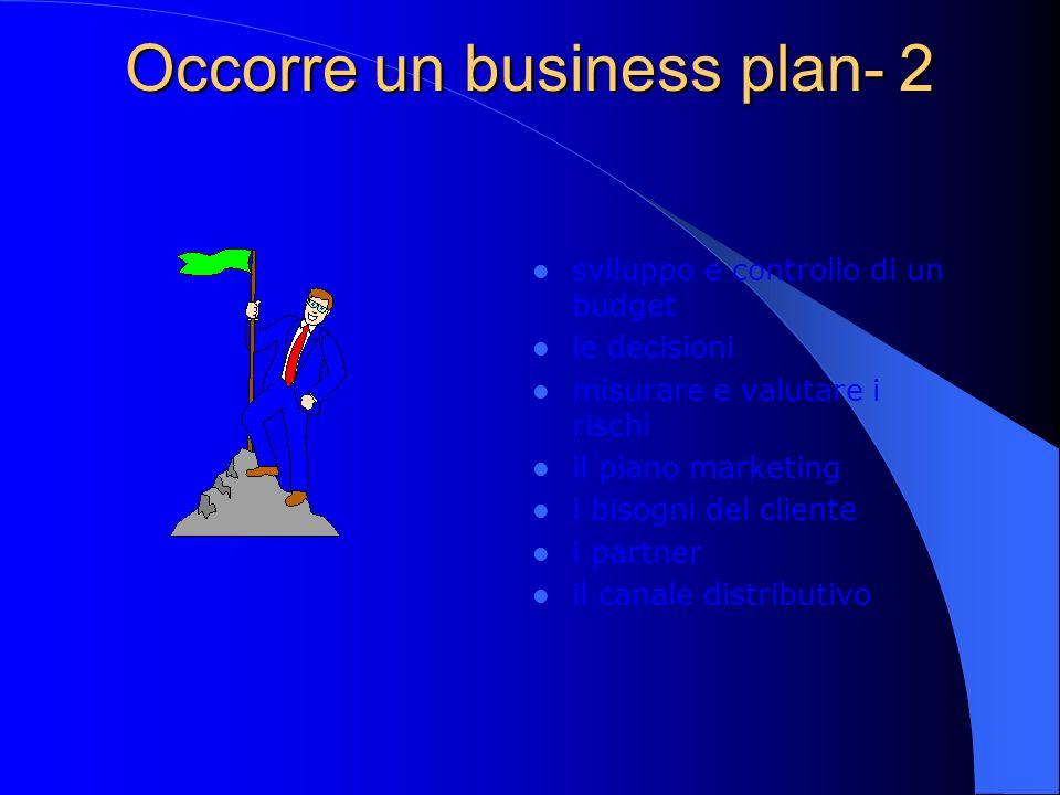 Occorre un business plan- 2 sviluppo e controllo di un budget le decisioni misurare e valutare i rischi il piano marketing i bisogni del cliente i partner il canale distributivo