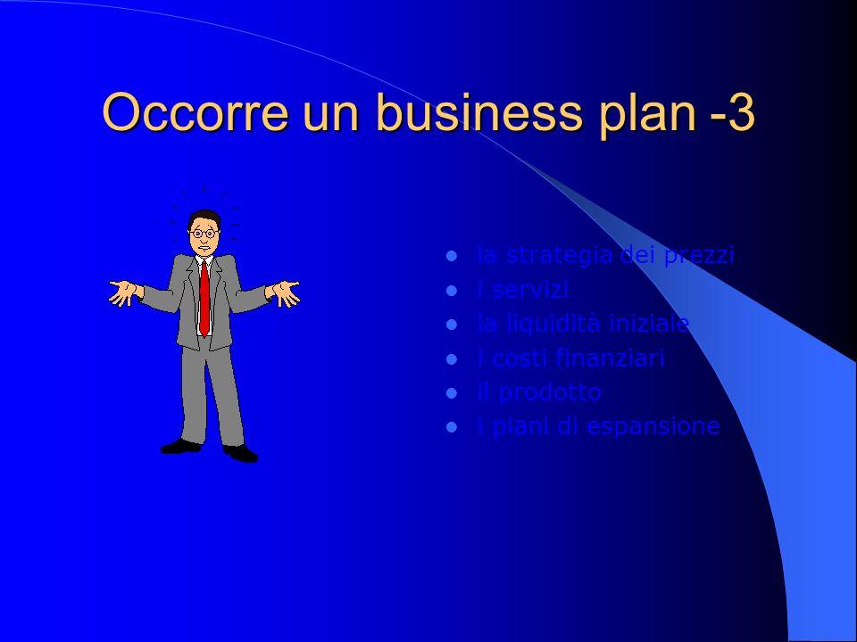 Occorre un business plan -3 la strategia dei prezzi i servizi la liquidità iniziale i costi finanziari il prodotto i piani di espansione