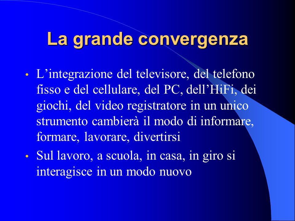La grande convergenza Lintegrazione del televisore, del telefono fisso e del cellulare, del PC, dellHiFi, dei giochi, del video registratore in un unico strumento cambierà il modo di informare, formare, lavorare, divertirsi Sul lavoro, a scuola, in casa, in giro si interagisce in un modo nuovo