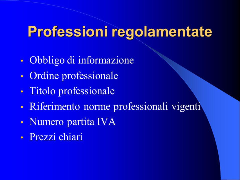 Professioni regolamentate Obbligo di informazione Ordine professionale Titolo professionale Riferimento norme professionali vigenti Numero partita IVA Prezzi chiari