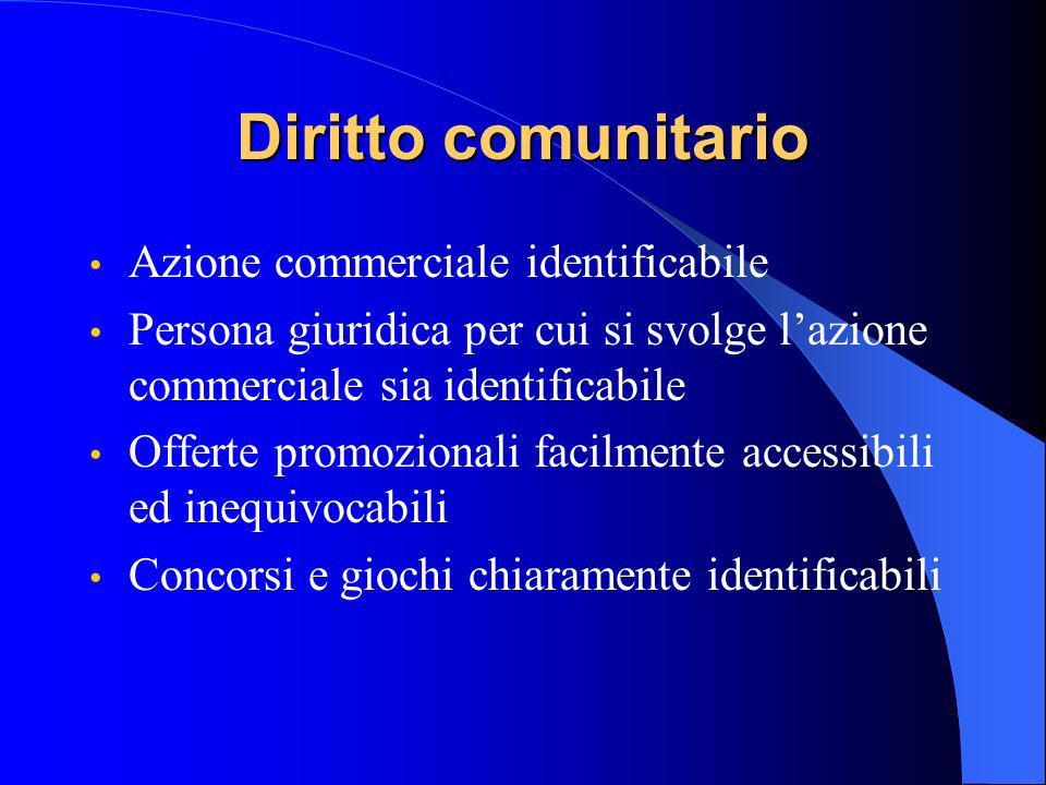 Diritto comunitario Azione commerciale identificabile Persona giuridica per cui si svolge lazione commerciale sia identificabile Offerte promozionali facilmente accessibili ed inequivocabili Concorsi e giochi chiaramente identificabili