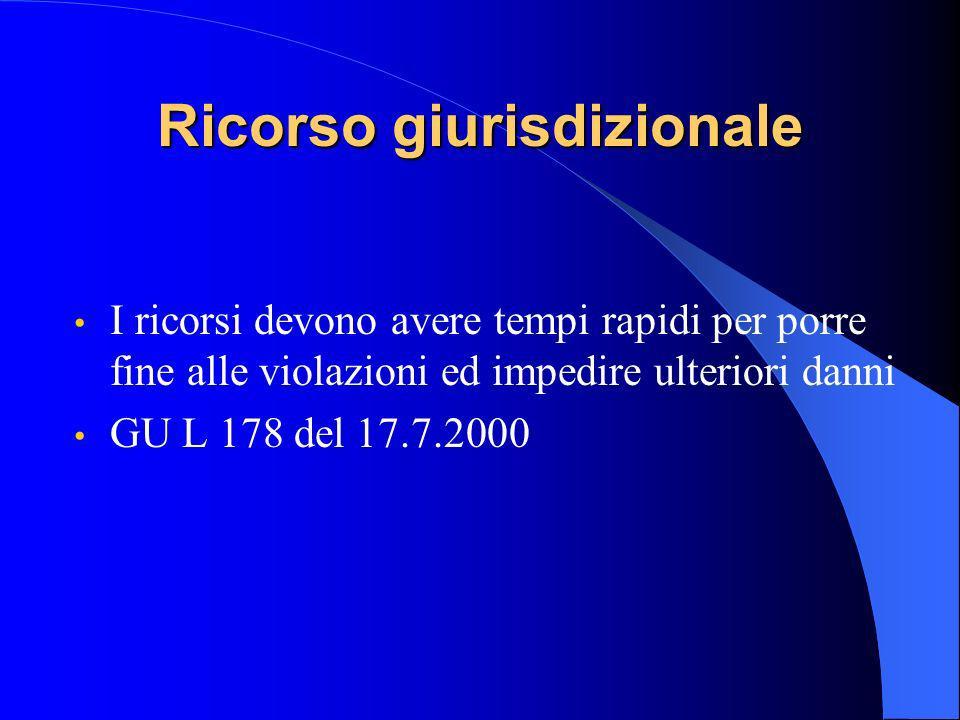 Ricorso giurisdizionale I ricorsi devono avere tempi rapidi per porre fine alle violazioni ed impedire ulteriori danni GU L 178 del 17.7.2000