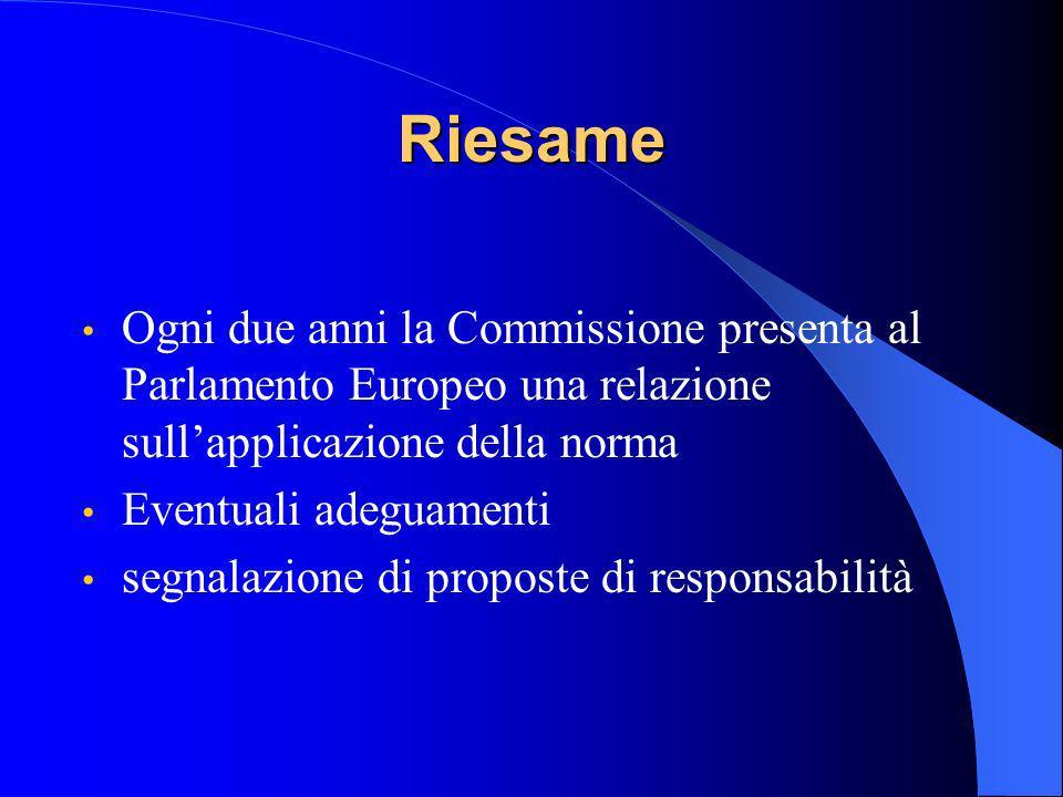 Riesame Ogni due anni la Commissione presenta al Parlamento Europeo una relazione sullapplicazione della norma Eventuali adeguamenti segnalazione di proposte di responsabilità