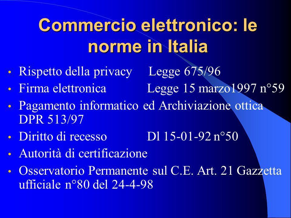 Commercio elettronico: le norme in Italia Rispetto della privacy Legge 675/96 Firma elettronica Legge 15 marzo1997 n°59 Pagamento informatico ed Archiviazione ottica DPR 513/97 Diritto di recesso Dl 15-01-92 n°50 Autorità di certificazione Osservatorio Permanente sul C.E.