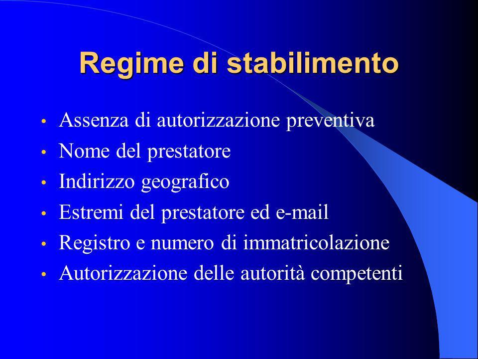 Regime di stabilimento Assenza di autorizzazione preventiva Nome del prestatore Indirizzo geografico Estremi del prestatore ed e-mail Registro e numero di immatricolazione Autorizzazione delle autorità competenti