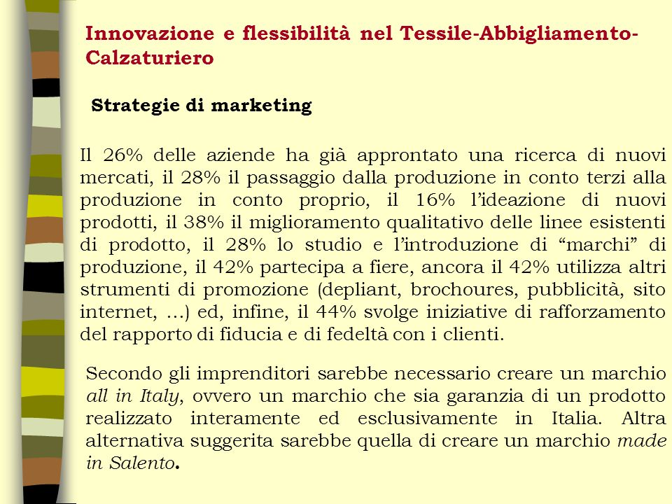 Innovazione e flessibilità nel Tessile-Abbigliamento- Calzaturiero Strategie di marketing Il 26% delle aziende ha già approntato una ricerca di nuovi mercati, il 28% il passaggio dalla produzione in conto terzi alla produzione in conto proprio, il 16% lideazione di nuovi prodotti, il 38% il miglioramento qualitativo delle linee esistenti di prodotto, il 28% lo studio e lintroduzione di marchi di produzione, il 42% partecipa a fiere, ancora il 42% utilizza altri strumenti di promozione (depliant, brochoures, pubblicità, sito internet, …) ed, infine, il 44% svolge iniziative di rafforzamento del rapporto di fiducia e di fedeltà con i clienti.