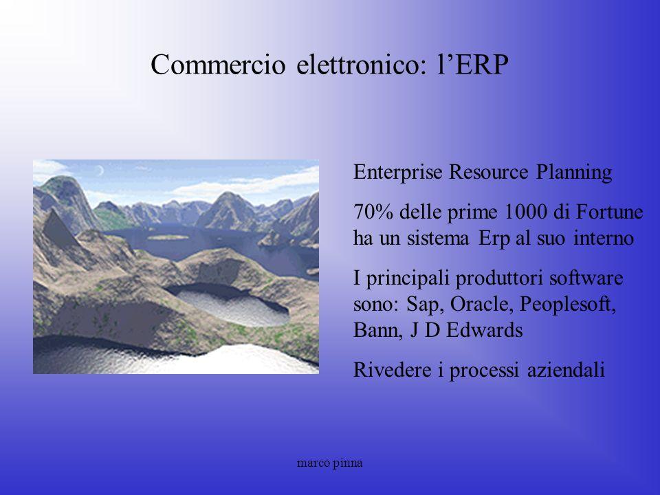 marco pinna Commercio elettronico: lERP Enterprise Resource Planning 70% delle prime 1000 di Fortune ha un sistema Erp al suo interno I principali pro