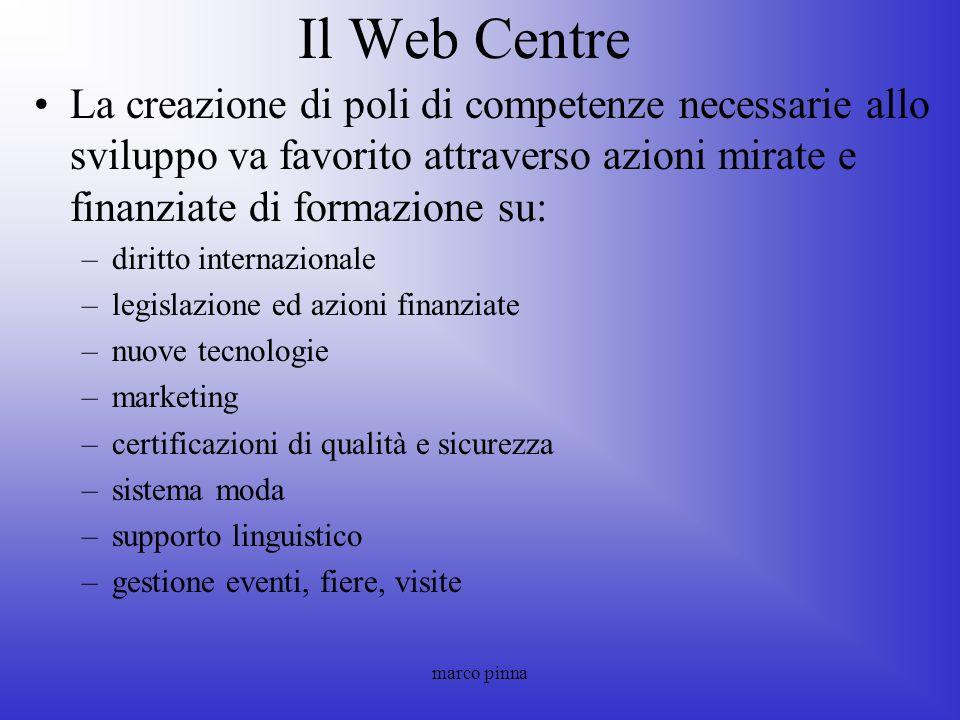 marco pinna Il Web Centre La creazione di poli di competenze necessarie allo sviluppo va favorito attraverso azioni mirate e finanziate di formazione