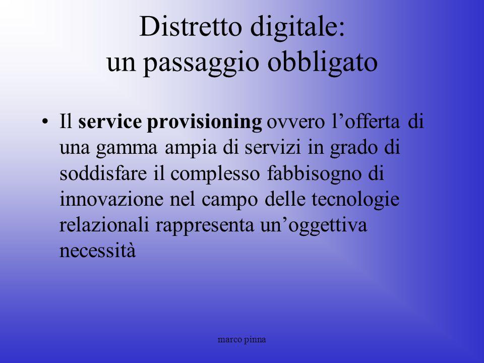 marco pinna Distretto digitale: un passaggio obbligato Il service provisioning ovvero lofferta di una gamma ampia di servizi in grado di soddisfare il