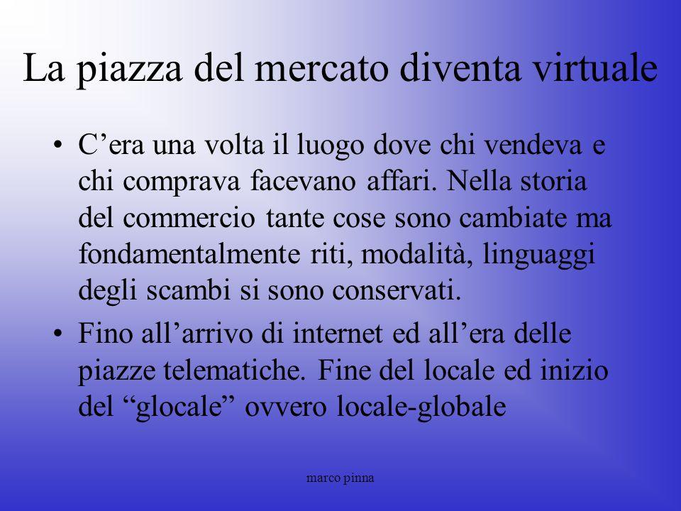 marco pinna La piazza del mercato diventa virtuale Cera una volta il luogo dove chi vendeva e chi comprava facevano affari. Nella storia del commercio