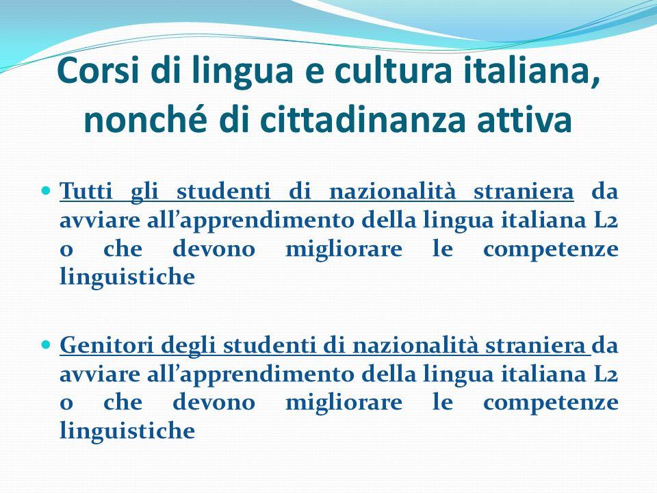 Corsi di lingua e cultura italiana, nonché di cittadinanza attiva Tutti gli studenti di nazionalità straniera da avviare allapprendimento della lingua italiana L2 o che devono migliorare le competenze linguistiche Genitori degli studenti di nazionalità straniera da avviare allapprendimento della lingua italiana L2 o che devono migliorare le competenze linguistiche