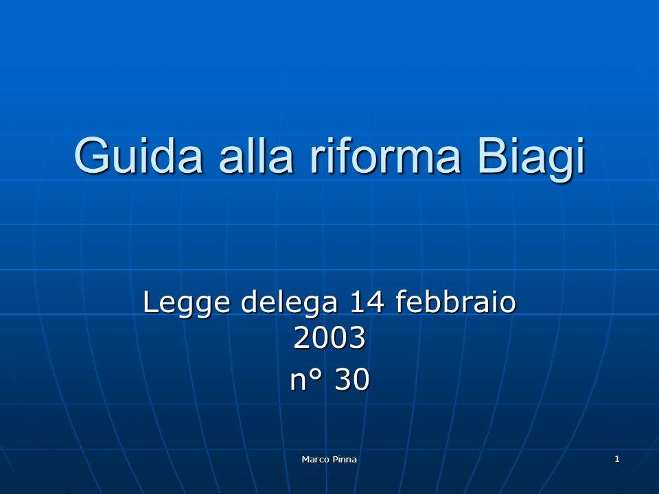 Marco Pinna 1 Guida alla riforma Biagi Legge delega 14 febbraio 2003 n° 30