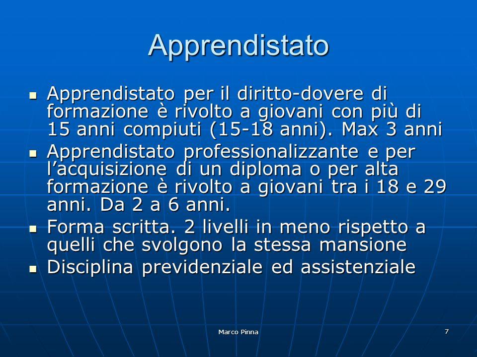 Marco Pinna 7 Apprendistato Apprendistato per il diritto-dovere di formazione è rivolto a giovani con più di 15 anni compiuti (15-18 anni).