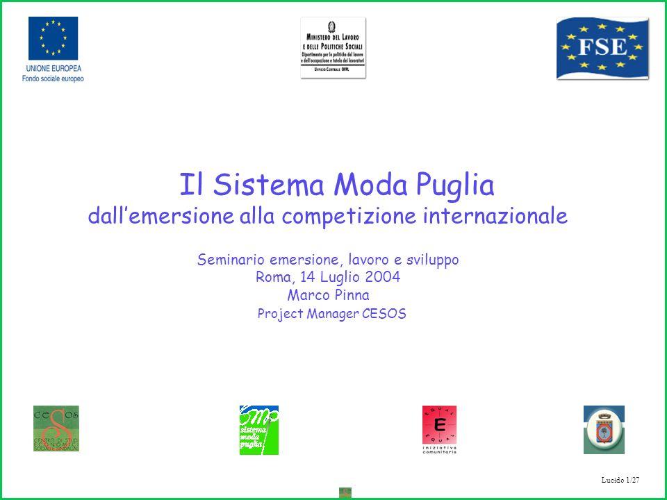 Lucido 1/27 Il Sistema Moda Puglia dallemersione alla competizione internazionale Seminario emersione, lavoro e sviluppo Roma, 14 Luglio 2004 Marco Pinna Project Manager CESOS