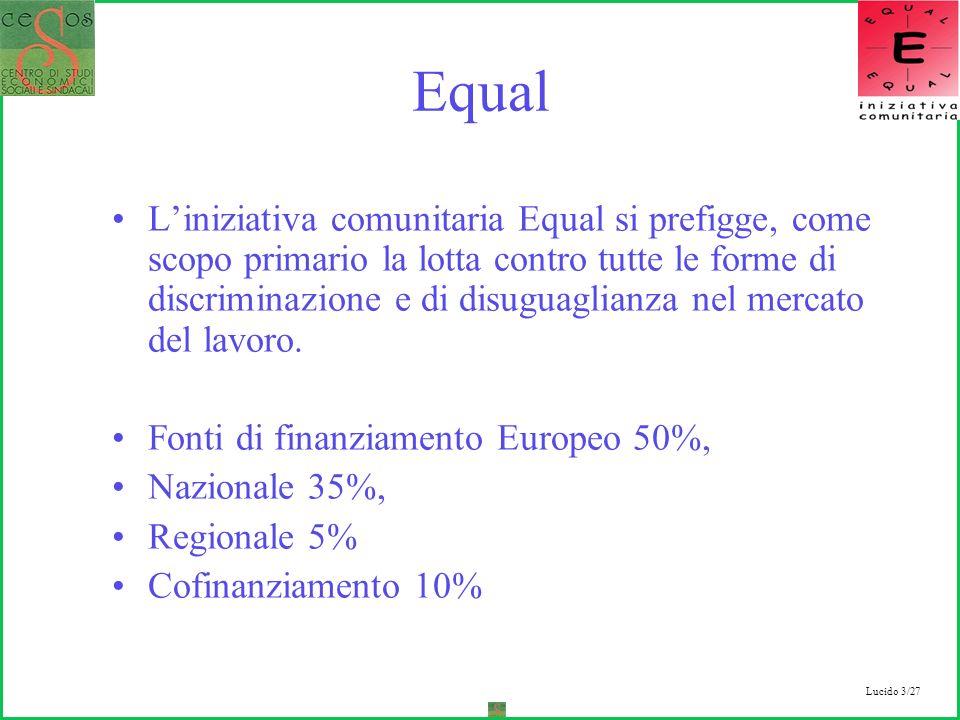 Lucido 3/27 Equal Liniziativa comunitaria Equal si prefigge, come scopo primario la lotta contro tutte le forme di discriminazione e di disuguaglianza nel mercato del lavoro.