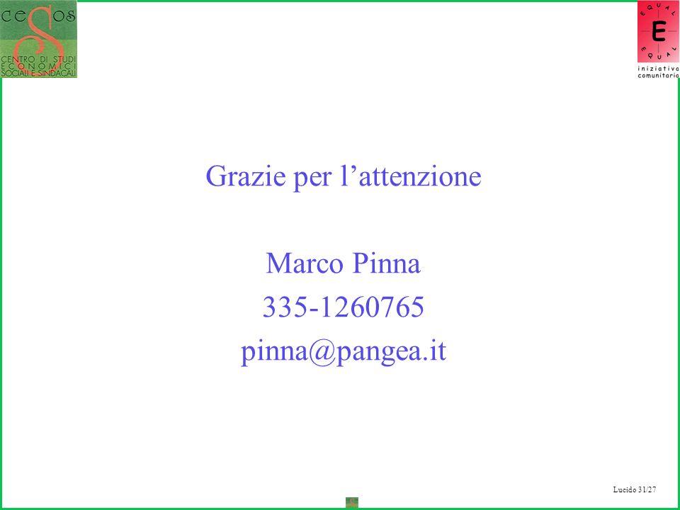 Lucido 31/27 Grazie per lattenzione Marco Pinna 335-1260765 pinna@pangea.it