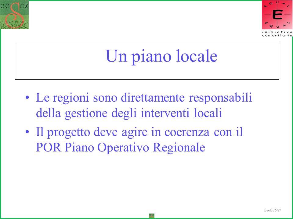 Lucido 5/27 Un piano locale Le regioni sono direttamente responsabili della gestione degli interventi locali Il progetto deve agire in coerenza con il POR Piano Operativo Regionale