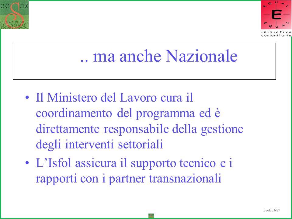 Lucido 6/27.. ma anche Nazionale Il Ministero del Lavoro cura il coordinamento del programma ed è direttamente responsabile della gestione degli inter