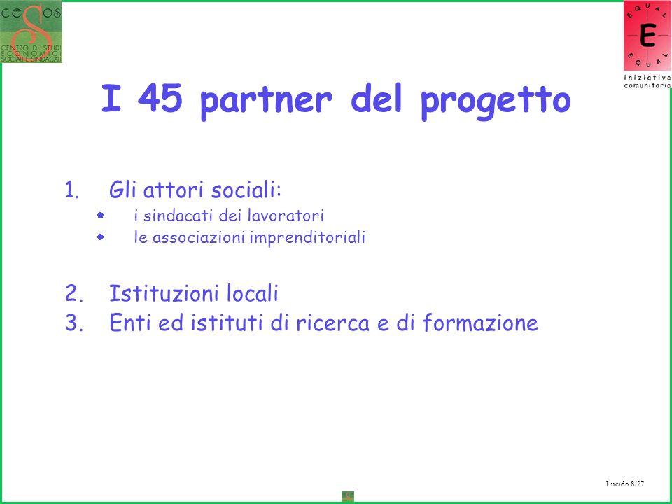 Lucido 8/27 I 45 partner del progetto 1.Gli attori sociali: i sindacati dei lavoratori le associazioni imprenditoriali 2.Istituzioni locali 3.Enti ed