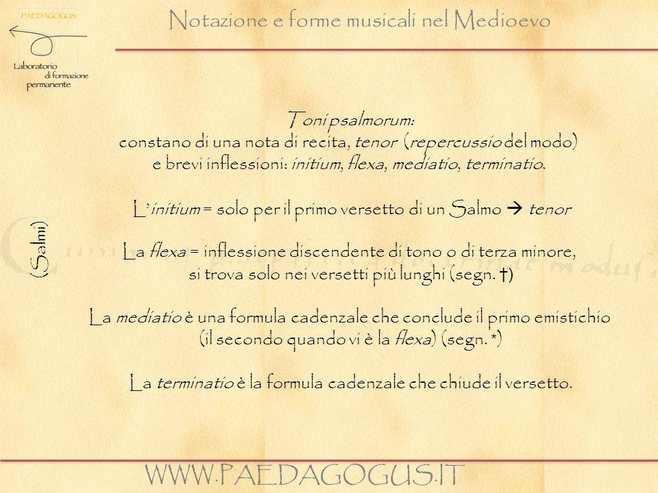 Notazione e forme musicali nel Medioevo WWW.PAEDAGOGUS.IT (Salmi) Toni psalmorum: constano di una nota di recita, tenor (repercussio del modo) e brevi