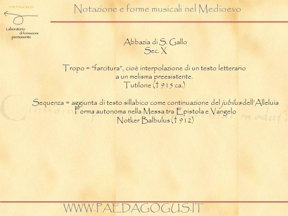 Notazione e forme musicali nel Medioevo WWW.PAEDAGOGUS.IT Abbazia di S. Gallo Sec. X Tropo = farcitura, cioè interpolazione di un testo letterario a u