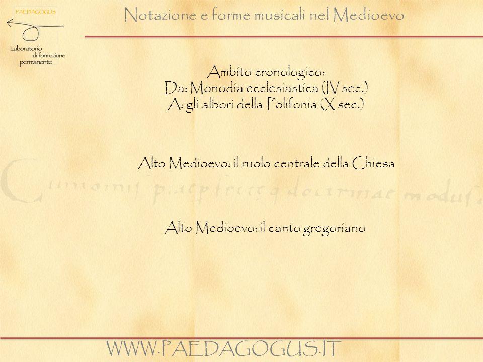 Notazione e forme musicali nel Medioevo Il canto gregoriano è: monodico diatonico raramente esteso oltre lottava esclusivamente vocale in lingua latina WWW.PAEDAGOGUS.IT