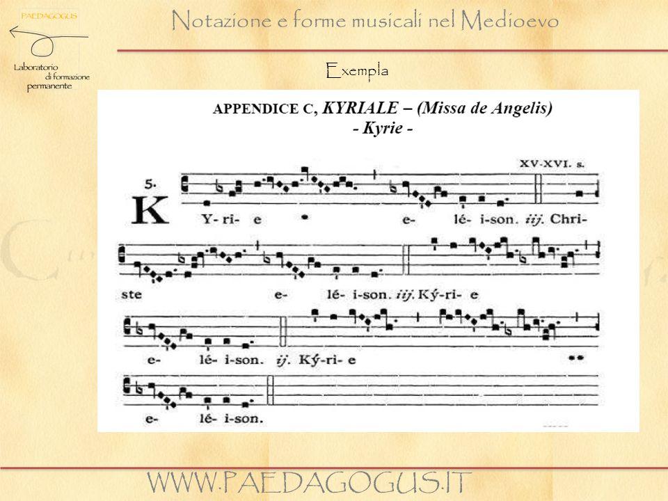 Notazione e forme musicali nel Medioevo WWW.PAEDAGOGUS.IT Exempla
