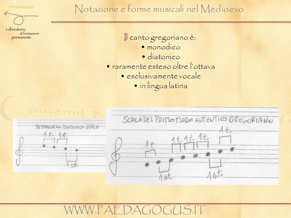 Notazione e forme musicali nel Medioevo Il canto gregoriano è: monodico diatonico raramente esteso oltre lottava esclusivamente vocale in lingua latin