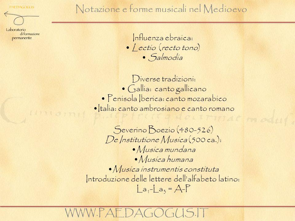 Notazione e forme musicali nel Medioevo Influenza ebraica: Lectio (recto tono) Salmodia WWW.PAEDAGOGUS.IT Diverse tradizioni: Gallia: canto gallicano