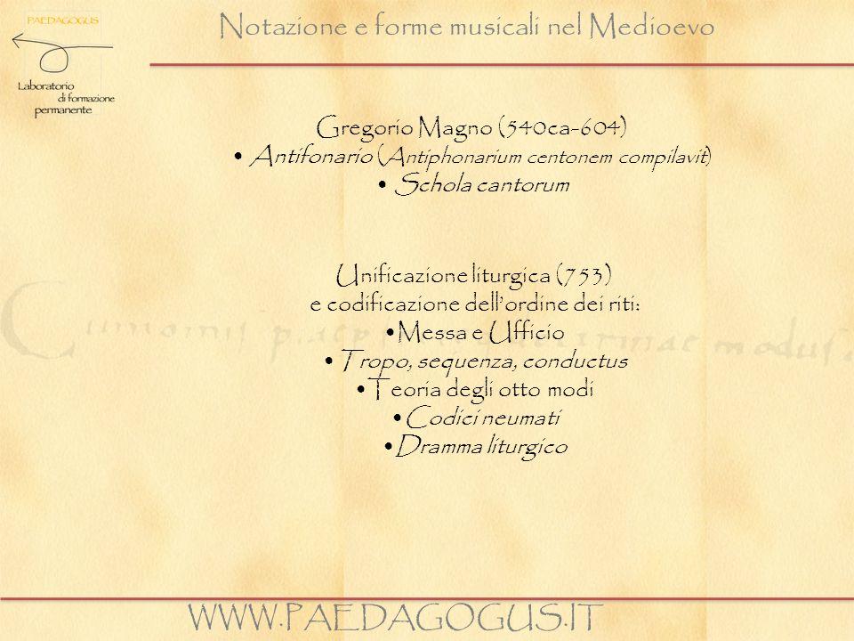 Notazione e forme musicali nel Medioevo Gregorio Magno (540ca-604) Antifonario ( Antiphonarium centonem compilavit) Schola cantorum WWW.PAEDAGOGUS.IT