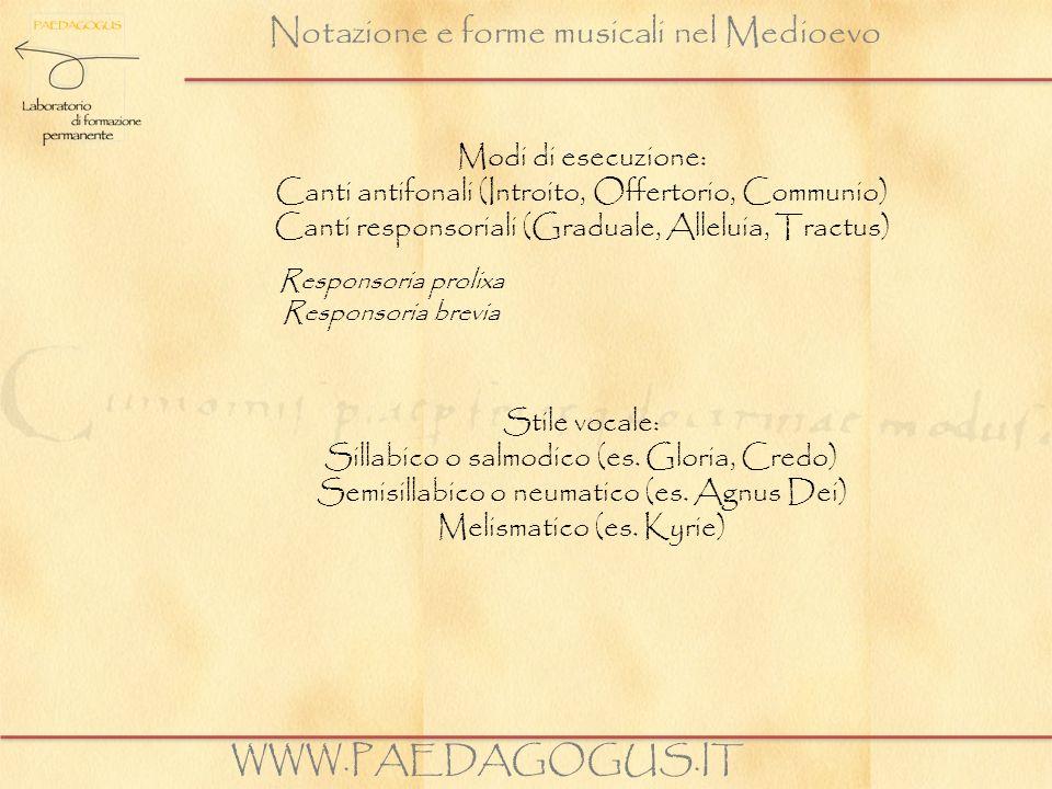 Notazione e forme musicali nel Medioevo WWW.PAEDAGOGUS.IT Modi di esecuzione: Canti antifonali (Introito, Offertorio, Communio) Canti responsoriali (G