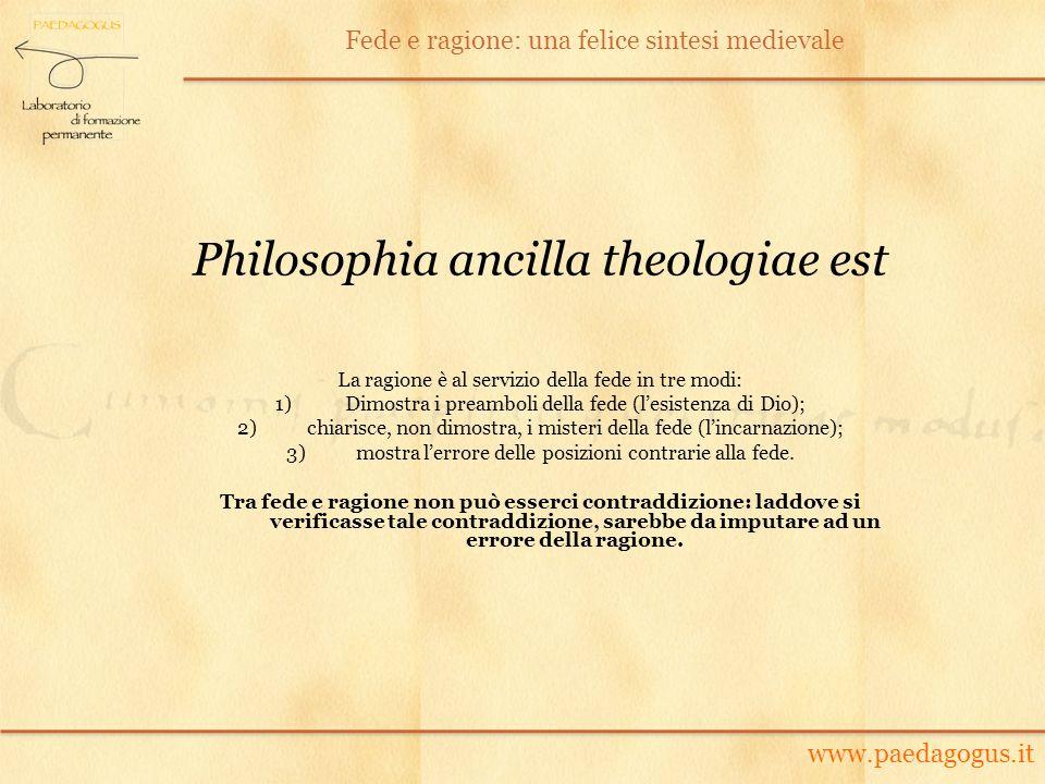 Philosophia ancilla theologiae est La ragione è al servizio della fede in tre modi: 1)Dimostra i preamboli della fede (lesistenza di Dio); 2)chiarisce