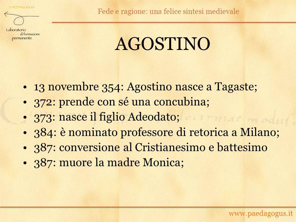 AGOSTINO 13 novembre 354: Agostino nasce a Tagaste; 372: prende con sé una concubina; 373: nasce il figlio Adeodato; 384: è nominato professore di ret