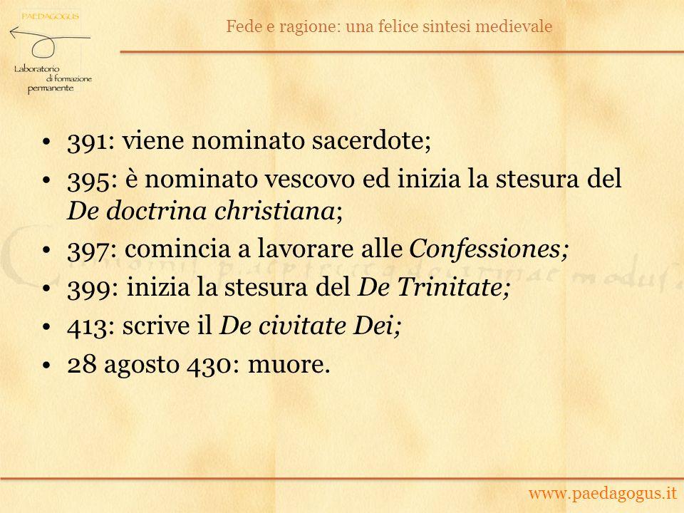 391: viene nominato sacerdote; 395: è nominato vescovo ed inizia la stesura del De doctrina christiana; 397: comincia a lavorare alle Confessiones; 39