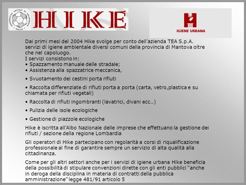 Dai primi mesi del 2004 Hike svolge per conto dellazienda TEA S.p.A. servizi di igiene ambientale diversi comuni della provincia di Mantova oltre che