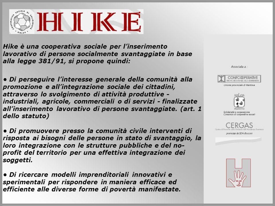 Hike è una cooperativa sociale per linserimento lavorativo di persone socialmente svantaggiate in base alla legge 381/91, si propone quindi: Di perseg
