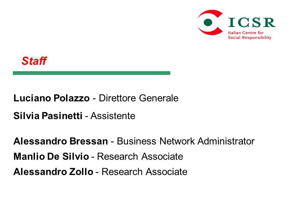 Staff Luciano Polazzo - Direttore Generale Silvia Pasinetti - Assistente Alessandro Bressan - Business Network Administrator Manlio De Silvio - Resear