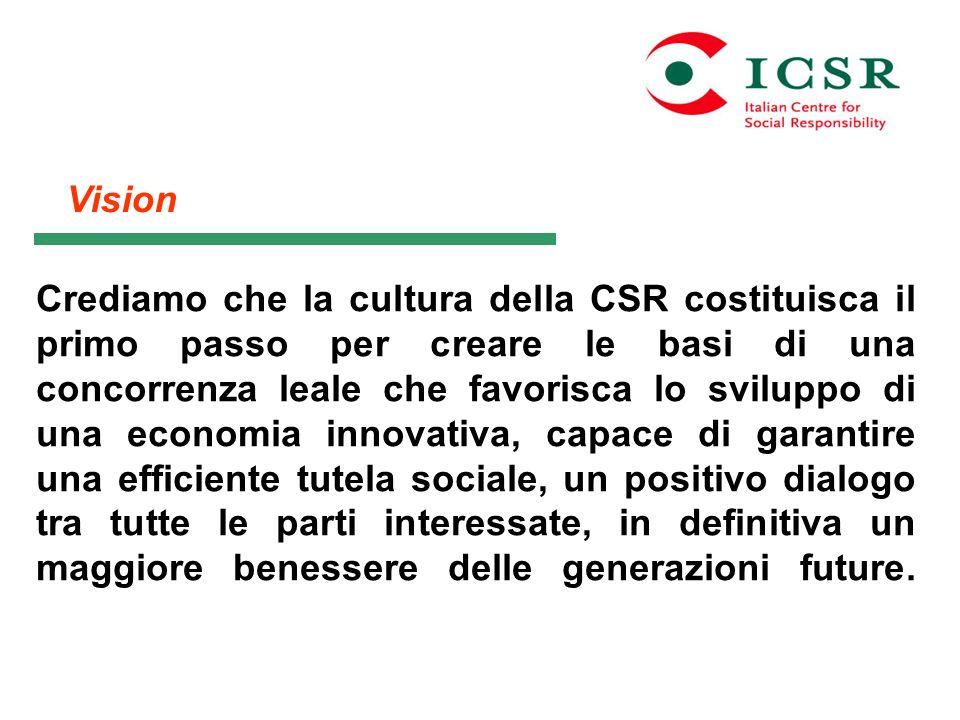 Vision Crediamo che la cultura della CSR costituisca il primo passo per creare le basi di una concorrenza leale che favorisca lo sviluppo di una econo