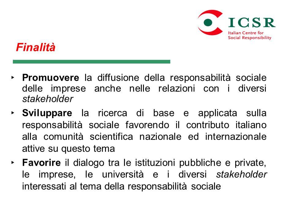 Finalità Promuovere la diffusione della responsabilità sociale delle imprese anche nelle relazioni con i diversi stakeholder Sviluppare la ricerca di