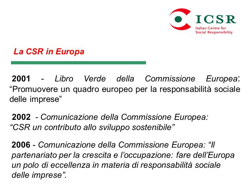 La CSR in Europa 2001 - Libro Verde della Commissione Europea : Promuovere un quadro europeo per la responsabilità sociale delle imprese 2002 - Comuni