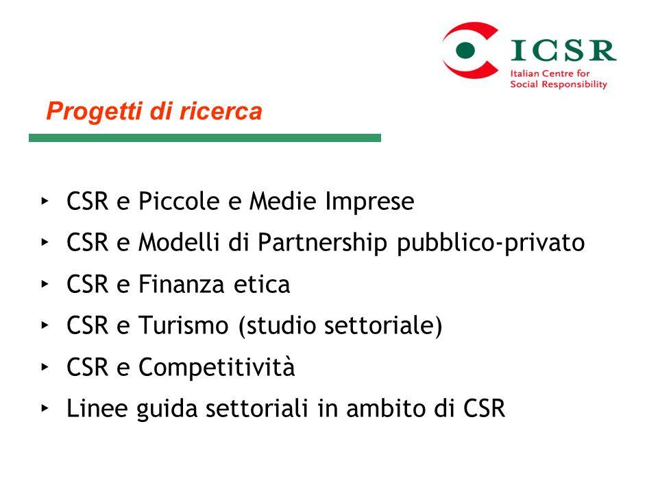 CSR e Piccole e Medie Imprese CSR e Modelli di Partnership pubblico-privato CSR e Finanza etica CSR e Turismo (studio settoriale) CSR e Competitività