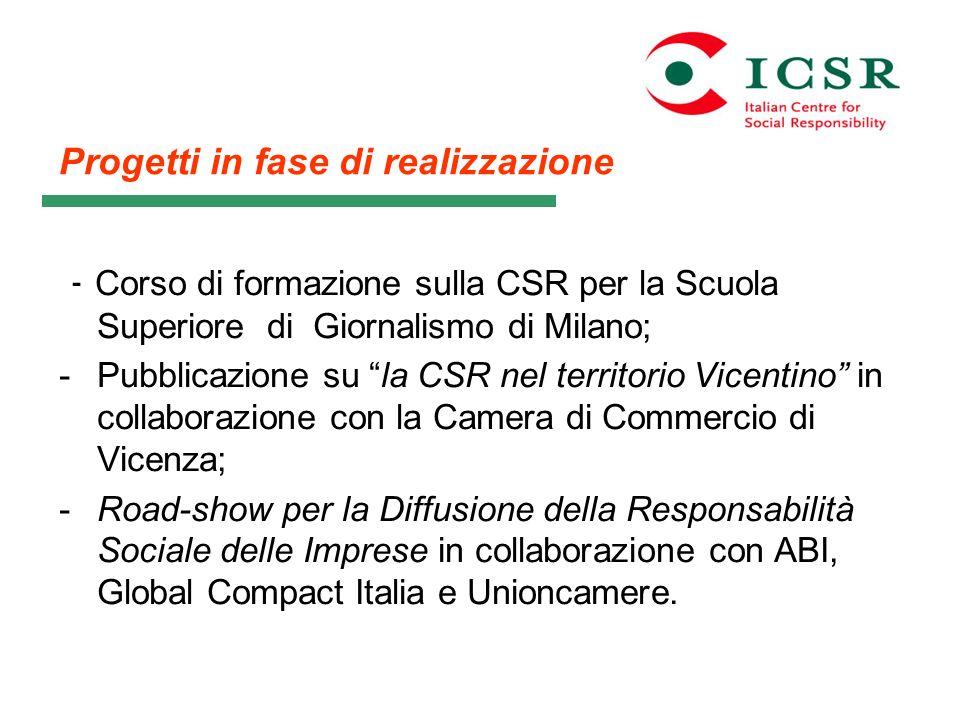 - Corso di formazione sulla CSR per la Scuola Superiore di Giornalismo di Milano; -Pubblicazione su la CSR nel territorio Vicentino in collaborazione