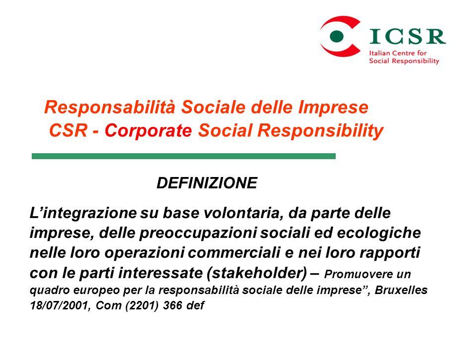 Responsabilità Sociale delle Imprese CSR - Corporate Social Responsibility DEFINIZIONE Lintegrazione su base volontaria, da parte delle imprese, delle