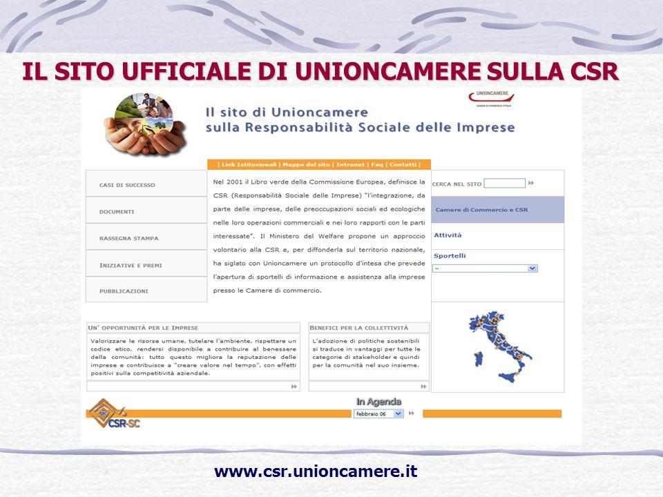 IL SITO UFFICIALE DI UNIONCAMERE SULLA CSR www.csr.unioncamere.it