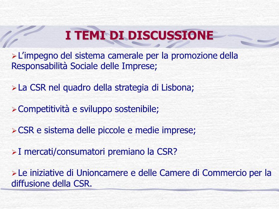 I TEMI DI DISCUSSIONE Limpegno del sistema camerale per la promozione della Responsabilità Sociale delle Imprese; La CSR nel quadro della strategia di