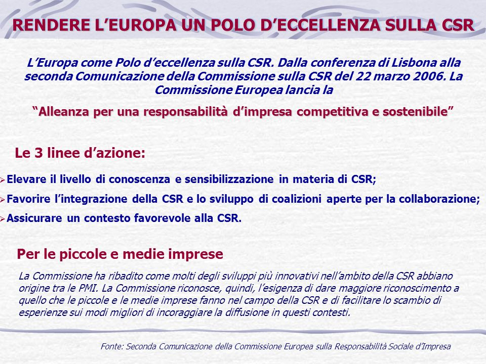 RENDERE LEUROPA UN POLO DECCELLENZA SULLA CSR LEuropa come Polo deccellenza sulla CSR. Dalla conferenza di Lisbona alla seconda Comunicazione della Co